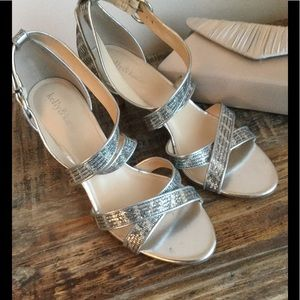 Sequined Strappy Silver Heels